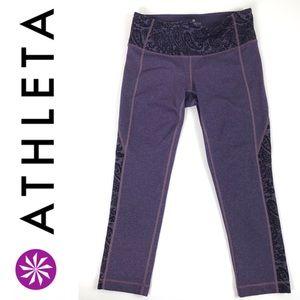 Athleta Crop Leggings Heathered Purple